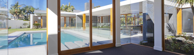 glass door to swimming pool area