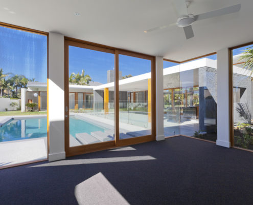 glass door near pool