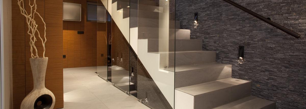 glass panel near stairways